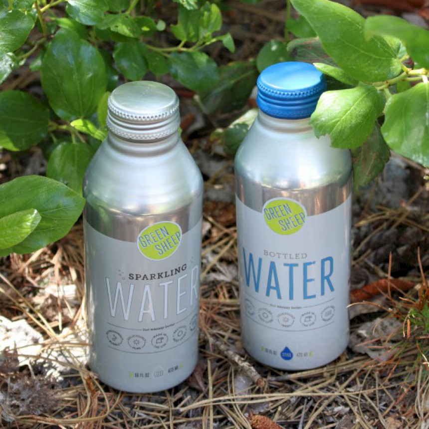 Water in Aluminum Bottles from Green Sheep